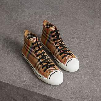 Free Standard Shipping at Burberry Burberry Rainbow Vintage Check High-top  Sneakers