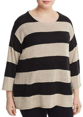 Eileen Fisher Plus Organic Linen Awning-Stripe Sweater
