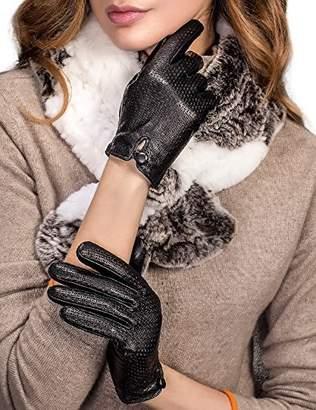 YISEVEN Women's Latticed Touchscreen Lambskin Lined Leather Short Winter Gloves