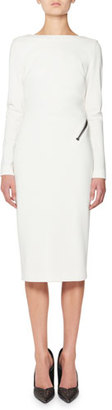TOM FORD Zip-Trim Scoop-Back Long-Sleeve Dress, White $1,990 thestylecure.com