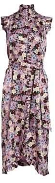 Erdem Floral Ruffled Silk Tie-Waist Shirtdress