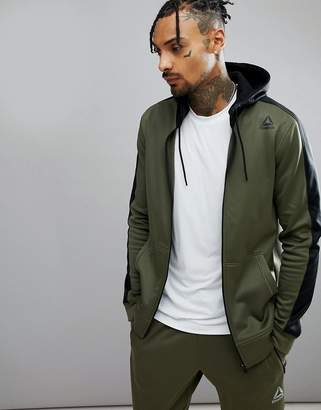 Reebok Training Elitage Hoodie In Khaki CD5540
