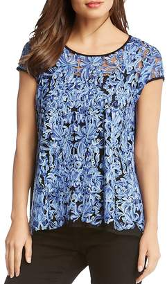 Karen Kane Embroidered Mesh Top