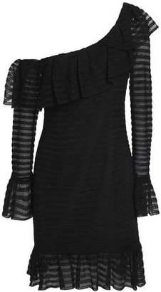 Nicholas One-Shoulder Ruffle-Trimmed Pointelle-Knit Mini Dress