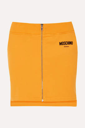 Moschino Flocked Cotton-jersey Mini Skirt - Yellow