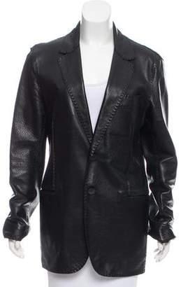 Fendi Notch-Lapel Leather Coat