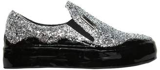 Glittered Leather Slip-On Sneakers