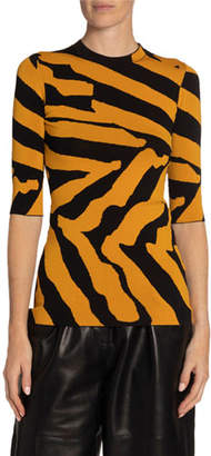 Proenza Schouler Jacquard 3/4-Sleeve Sweater