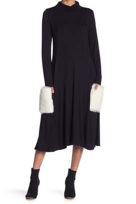 Couture Go Faux Fur Patch Pocket Sharkbite Dress
