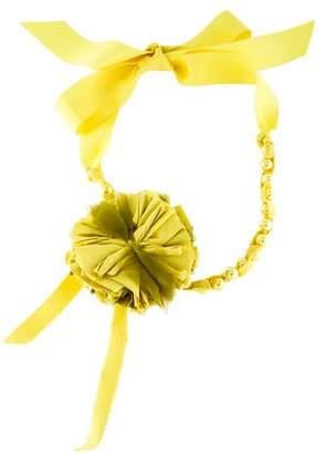 Lanvin Faux Pearl & Ribbon Flower Necklace