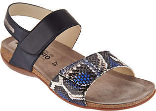 Mephisto Leather Double Strap Sandals - Agave