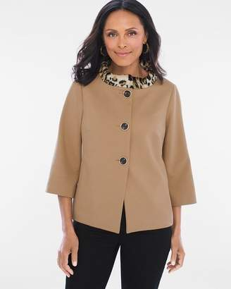 Chico's Faux Fur Animal Collar Jacket