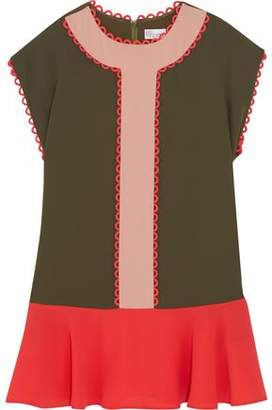 RED Valentino Picot-Trimmed Color-Block Crepe Mini Dress