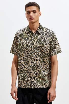 1ff5cc42f314 Urban Outfitters Leopard Print Satin Short Sleeve Button-Down Shirt
