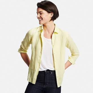 Women's Premium Linen Long Sleeve Button-Front Shirt $29.90 thestylecure.com