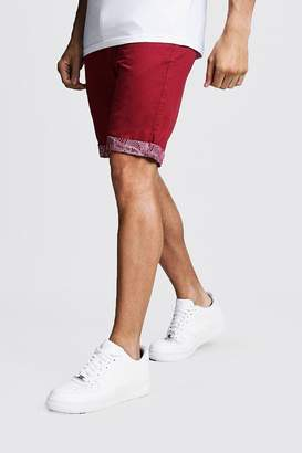 boohoo Slim Fit Chino Shorts With Printed Turn Ups