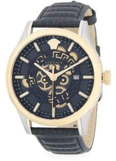 Versace Stainless Steel   Textured Leather-Strap Watch 41641e1ece4