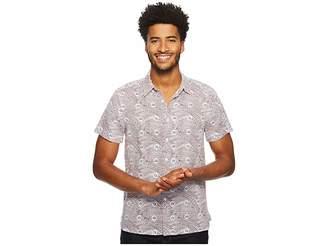 Perry Ellis Short Sleeve Condensed Paisley Linen Shirt Men's Clothing
