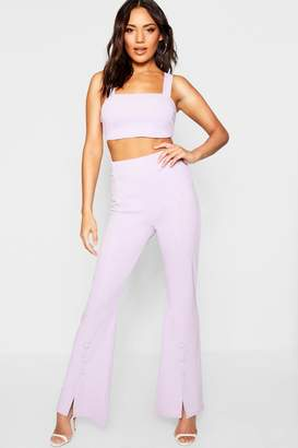 boohoo Square Neck Bralet + Button Detail Flare Co-Ord