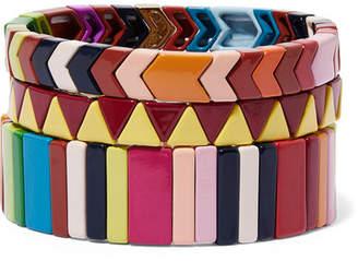Roxanne Assoulin - Picnic Blanket Set Of Three Enamel Bracelets - Yellow
