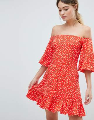 Asos DESIGN Off Shoulder Mini Sundress With Bubble Sleeve In Ditsy Print