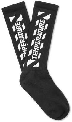Off-White Intarsia Stretch Cotton-Blend Socks