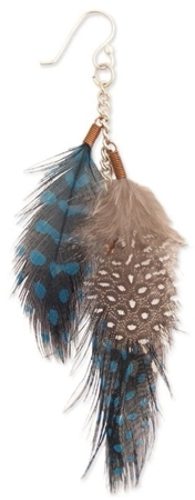 Z Designs Feather and Chain Dangle Earrings