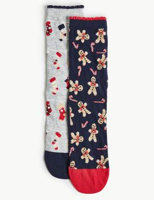 Marks and Spencer 2 Pair Pack Gingerbread Ankle High Socks