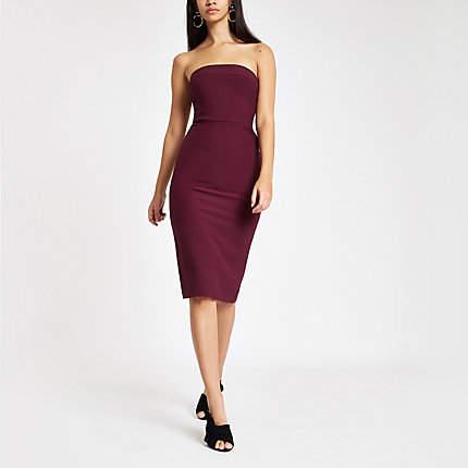 Womens Dark Purple bow back bandeau bodycon dress