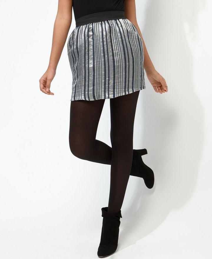 Glam Skirt, Metallic Stripe Mini
