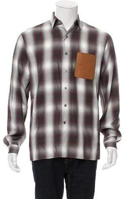 Loewe Plaid Leather-Pocket Shirt w/ Tags