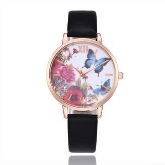 Wollways Womens Quartz Wrist Watch Cute Butterly Pattern Girl