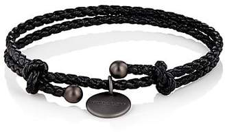 Bottega Veneta Men's Intrecciato Leather Double-Band Bracelet - Black