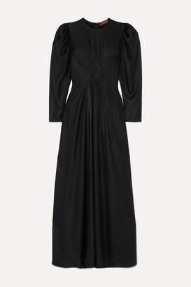 Sies Marjan Virginia Pintucked Hammered-satin Maxi Dress - Black