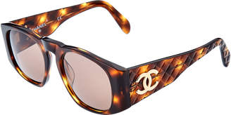 Chanel Brown Tortoise 60Mm Sunglasses