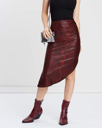 Missguided Snake Print Ruched Side Midi Skirt