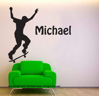 H&M Wall Decal Personalised Name with 76cm Skateboarder Wall Decal