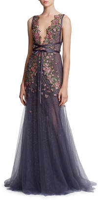 Marchesa Floral Embroidered Tie-Waist Tulle Deep V-Neck Gown