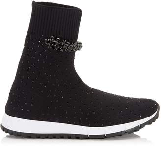 Jimmy Choo REGENA Black Knit Trainer with Hotfix Crystal Detailing and Crystal Piece