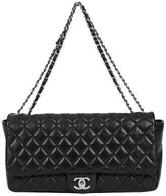 One Kings Lane Vintage Chanel Jumbo Black Rain Jacket Flap Bag