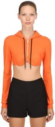 Jeremy Scott Cropped Cotton Sweatshirt Hoodie