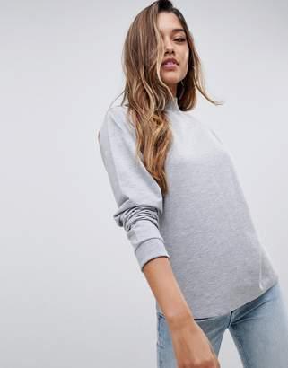 Asos Design DESIGN lightweight high neck sweatshirt in grey