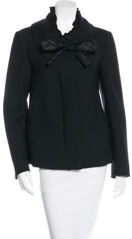 pradaPrada Ruffle-Trimmed Single-Breasted Coat