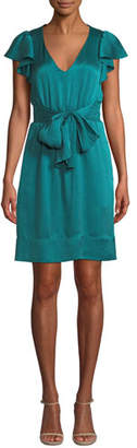 Rebecca Taylor Belted Silk Flutter-Sleeve V-Neck Dress