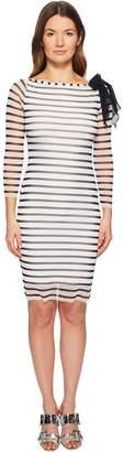 Fuzzi Long Sleeve Stripe Fitted Dress Women's Dress