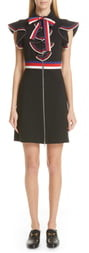 Gucci Sylvie Web Ruffle Stretch Jersey Dress