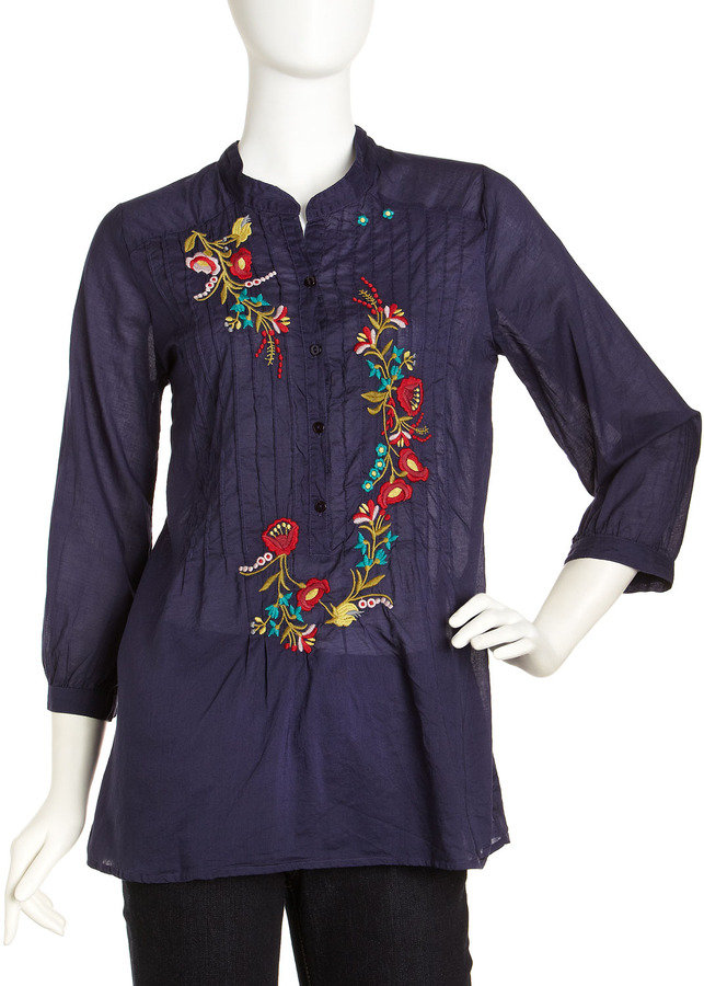 Johnny Was Embroidered Pullover Tunic, Stargazing