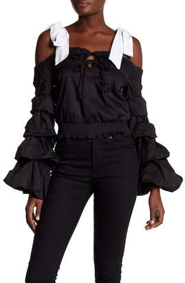 Tea & Cup Off-the-Shoulder Tiered Bell Sleeve Cropped Shirt