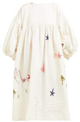 story. Mfg - Mon Embroidered Linen Blend Dress - Womens - White Multi