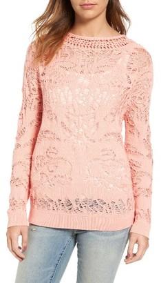 Women's Hinge Drop Stitch Cotton Blend Sweater $79 thestylecure.com